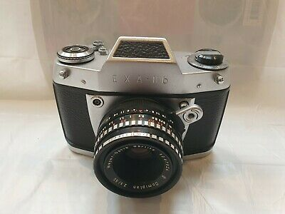 Vintage Exa 11b 35mm film camera with lens and case.