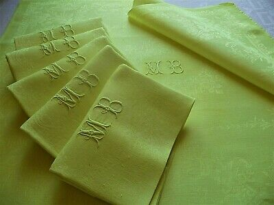 6 vintage French linen napkins,dowry napkins,Acid Yellow,dinner table napkins