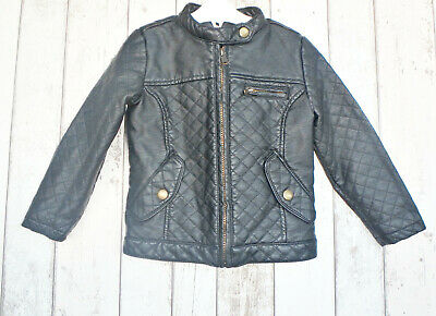 ** Gorgeous Girls Black Faux Leather Biker Jacket - George (4 - 5 years) **