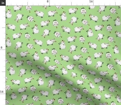 Sheep Lamb Cute Animal Green Baby Fabric Printed by Spoonflower BTY