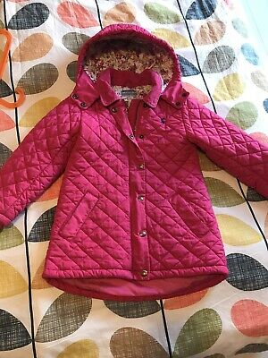 Joules Girls Pink Quilted Coat / Jacket With Floral Lining ~ Cord Trim Age 8