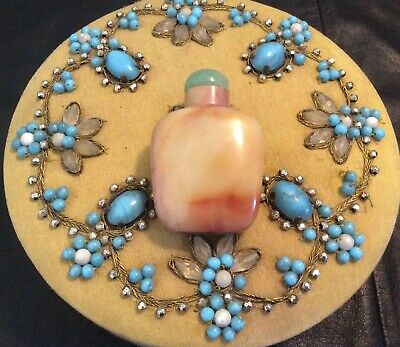 19c AGATE JADE Qing Chinese CARVED JADE SNUFF BOTTLE JADE Statue PEKING GLASS