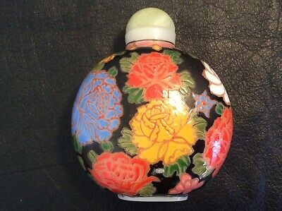 19c AGATE JADE Ming D. Chinese CARVED JADE SNUFF BOTTLE JADE Statue PEKING GLASS