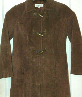 BRADLEY BAYOU Brown Suede Leather Jacket LADIES COAT Long WINTER Fall TRENCH