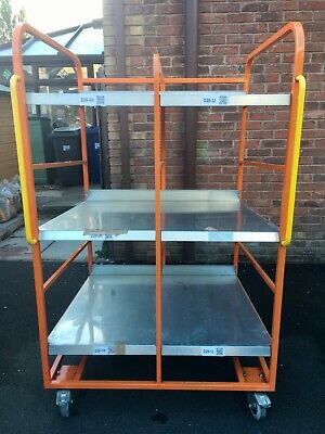 Orange Warehouse Trolley, heavy duty, on castors with brakes - Picking / Packing
