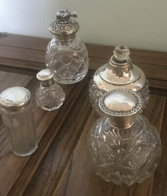 Gorgeous Silver Mounted Cut Glass Perfume Or Vanity Bottles Hallmarked