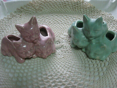 PAIR of Vintage Art Pottery Planters Three Little Kittens, Pink and Green