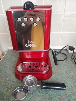 Red Gaggia Baby Dose Coffee Machine Made In Italy