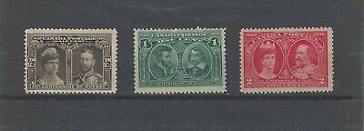 1910 Canada Quebec Tercentenary Issue Scott #96-98 MH OG CV=$78