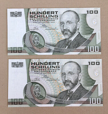 Set of 2 NEW Consecutive Austria Banknotes 100 Hundert Schilling 1984