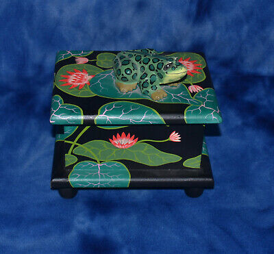 Wooden Treasure Box Frog On Lily Pad Hand Crafted And Painted Super Cute Deco