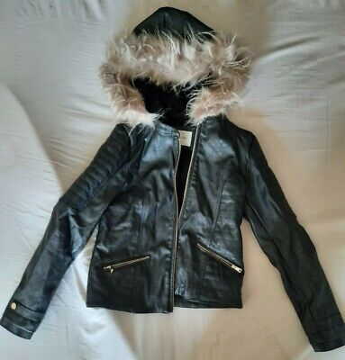 Girls Hooded Leather Jacket - RIVER ISLAND aged 12