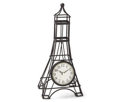 Paris Eiffel Tower Clock Collage with Gold Tone Accents Key Chain Fob Phone