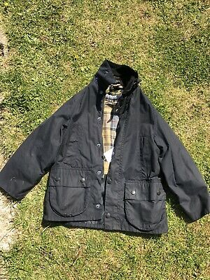 Boys Black Wax Padded  Barbour Jacket Small