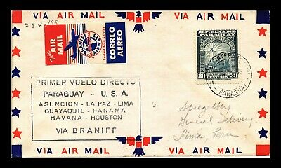 Dr Jim Stamps Asuncion Lima Airmail First Flight Paraguay Cover