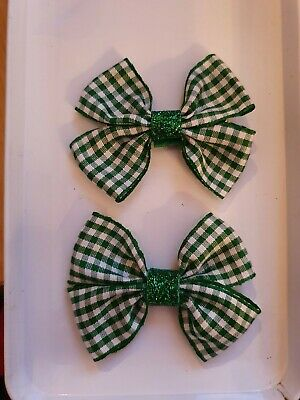SCHOOL BOW Hair CLIP- gingham checked green red blue purple