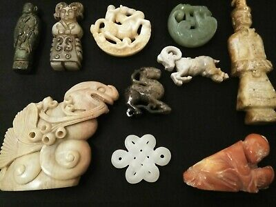 10pc BIG LOT CHINESE WITH JADE CARVED JADEITE STATUE JADE QING DYNASTY JADE SEAL