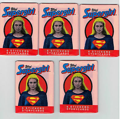 Supergirl Topps Stickers And Story Cards 10 Wax Packs 1984