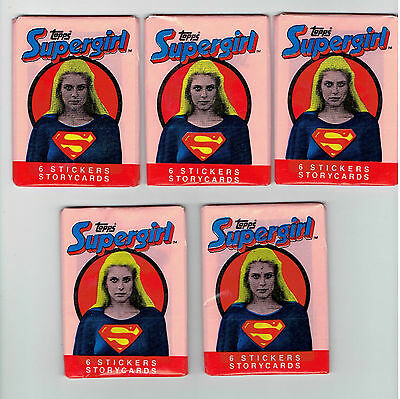 Supergirl Topps Stickers And Story Cards 1984 10 Wax Packs Lot