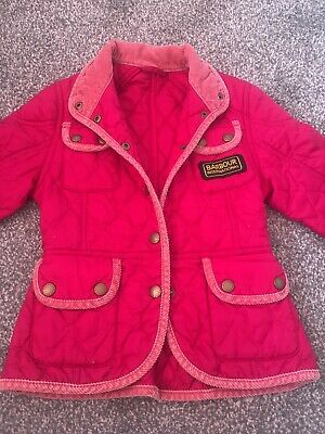 Girls Raspberry Pink Barbour Padded Jacket Size 4-5 Yr