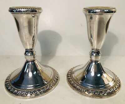 Sterling Pair of Duchin Created Weighted Vintage Candlesticks  - 451.7g