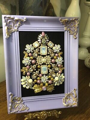 mixed media art, Vintage jewelry art framed