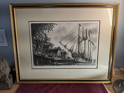 VINTAGE ORIGINAL NAUTICAL ETCHING / SHIP IN HARBOR. Beautiful scenery / Signed