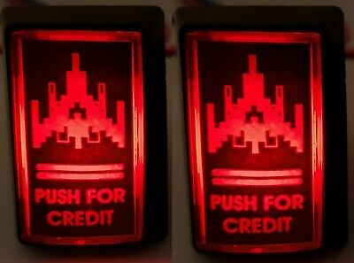 (2) Arcade1up LED Coin Buttons with Custom USB Power Cord & Switch Wires! Galaga