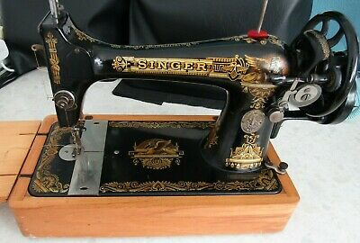 Antique Vintage SINGER Hand Crank Sewing Machine Gold Sphinx Design Early 1900