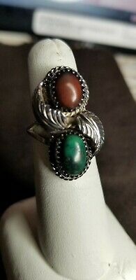 Western Turquoise & Coral Sz, 6 Silver Ring