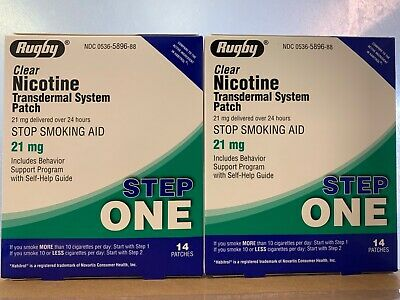 (pack of 2) Rugby Clear Nicotine Patch System 21 mg 14 PATCHES Step 1 (total 28)