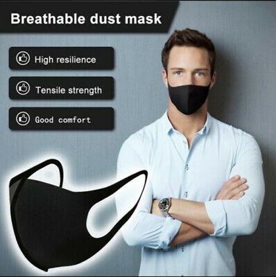 New 4 Pack Mouth Face Cover Reusable Cover Washable Black Adult Covering Unisex