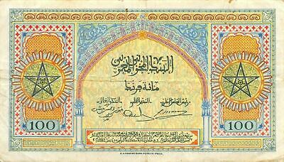 Morocco  100  Francs 1.5.1943  Series U162  Circulated Banknote RCV