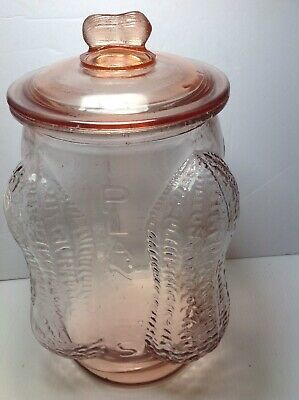 Vintage Mr. Peanuts Large Pink General Store Glass Jar W/ Lid