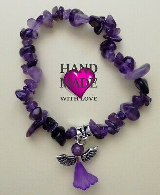 Angel Amethyst Crystal Chip Bracelet Protection Healing Chakra Reiki Jewellery