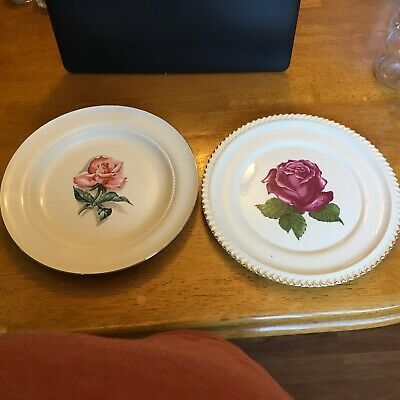Vintage 2 Rose Plates, The Harker Pottery & Eastern China