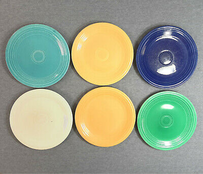"Lot of 6 Vintage Fiesta 9 1/2"" Lunch / Dinner Plates - Fiestaware"