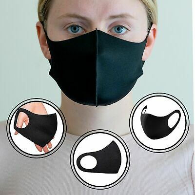 New 3 Pack Mouth Face Cover Reusable Cover Washable Black Adult Covering Unisex