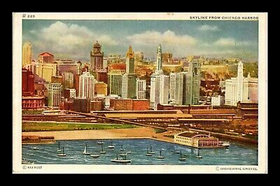 Dr Jim Stamps Us Skyline From Chicago Harbor White Border View Postcard