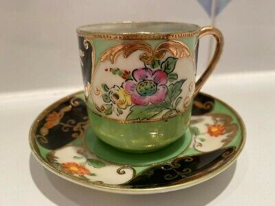 Antique Hand Painted Japanese Samurai China Demitasse Coffee Can Cup and Saucer