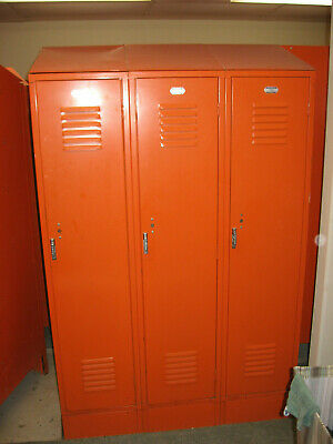 THREE CONNECTED Penco Used Vintage HEAVY Metal Steel Lockers School Gym Athletic