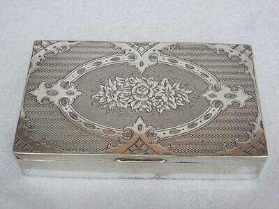 377 / Beautiful Antique Nickel Silver Plated Box With Engine Turned Decoration