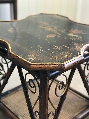 Antique Victorian Japanese-style bamboo table with hand-painted lacquered top