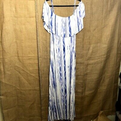 Lemon Tart Cold Shoulder Tiered Maxi Dress Sz 2X Blue Stretchy Summer Beach Plus