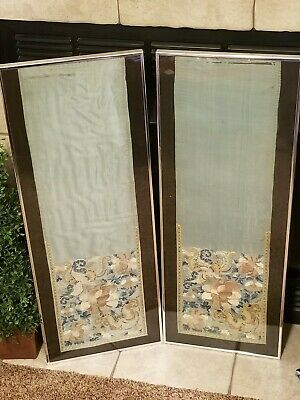 Pair Of 2 Vintage Antique Silk Embroidered Panels Asian Chinese Japanese Framed