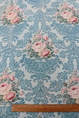 """Antique French c1918 Pink Roses & Lace Design On Printed Cotton Fabric~40""""X32"""""""