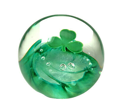 VTG 2001 SELKIRK Glass FLOATING SHAMROCK CLOVER PAPERWEIGHT SELKIRKGlass w TAG