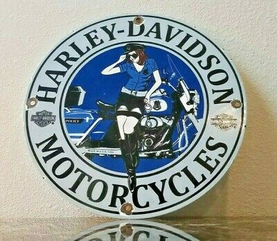 Vintage Harley Motorcycles Porcelain Pin Up Girl Service Station Pump Plate Sign