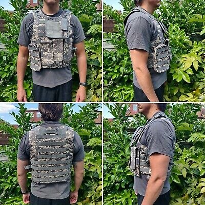 Adjustable Tac Military Airsoft Paintball MOLLE Combat Army Plate Carrier Vest