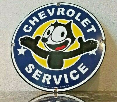 Vintage Chevrolet Porcelain Metal Gas Chevy Felix Dealer Service Station Sign